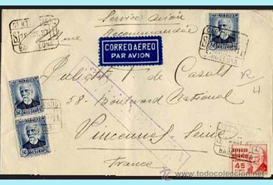 1937.- CERTIFICADO DE BARCELONA A VINCENNES.CON CENSURA (RB3.12A) EDIFIL 688-737 REV. FECH. LLEGADA. (Sellos - España - II República de 1.931 a 1.939 - Cartas)