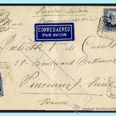 Sellos: 1937.- CERTIFICADO DE BARCELONA A VINCENNES.CON CENSURA (RB3.12A) EDIFIL 688-737 REV. FECH. LLEGADA.. Lote 38220241