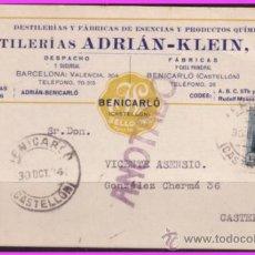 Sellos: TARJETA COMERCIAL DE BENICARLÓ A CASTELLÓN, 30 OCTUBRE 1934, EDIFIL Nº 665 (O). Lote 38291903