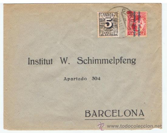 CIRCULADA 1931 DE CORUÑA A BARCELONA (Sellos - España - II República de 1.931 a 1.939 - Cartas)