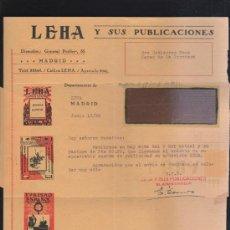 Sellos: CARTA COMERCIAL DE LEHA Y SUS PUBLICACIONES CON SELLO AL DORSO. 1932. VER DORSO. Lote 39305400