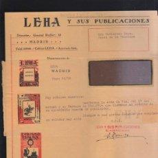 Sellos: CARTA COMERCIAL DE LEHA Y SUS PUBLICACIONES CON SELLO AL DORSO. 1932. VER DORSO . Lote 39321146