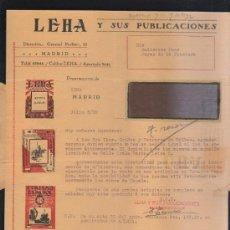 Sellos: CARTA COMERCIAL DE LEHA Y SUS PUBLICACIONES CON SELLO AL DORSO. 1932. VER DORSO . Lote 39321152