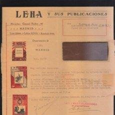 Sellos: CARTA COMERCIAL DE LEHA Y SUS PUBLICACIONES CON SELLO AL DORSO. 1932. VER DORSO . Lote 39321158