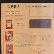 Sellos: CARTA COMERCIAL DE LEHA Y SUS PUBLICACIONES CON SELLO AL DORSO. 1931. VER DORSO . Lote 39321168
