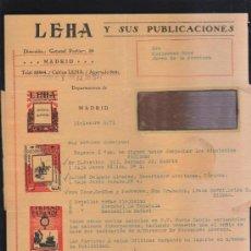 Sellos: CARTA COMERCIAL DE LEHA Y SUS PUBLICACIONES CON SELLO AL DORSO. 1931. VER DORSO . Lote 39321173