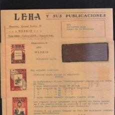 Sellos: CARTA COMERCIAL DE LEHA Y SUS PUBLICACIONES CON SELLO AL DORSO. 1931. VER DORSO . Lote 39321177