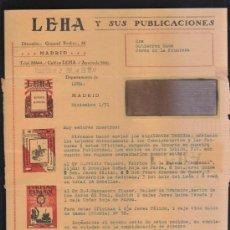 Sellos: CARTA COMERCIAL DE LEHA Y SUS PUBLICACIONES CON SELLO AL DORSO. 1931. VER DORSO . Lote 39321180