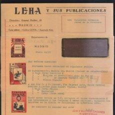 Sellos: CARTA COMERCIAL DE LEHA Y SUS PUBLICACIONES CON SELLO AL DORSO. 1932. VER DORSO . Lote 39321192