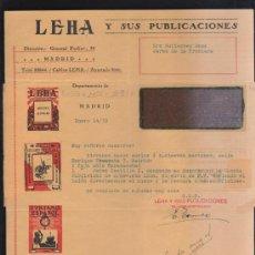 Sellos: CARTA COMERCIAL DE LEHA Y SUS PUBLICACIONES CON SELLO AL DORSO. 1932. VER DORSO . Lote 39321194