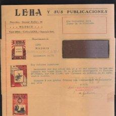 Sellos: CARTA COMERCIAL DE LEHA Y SUS PUBLICACIONES CON SELLO AL DORSO. 1931. VER DORSO . Lote 39321208