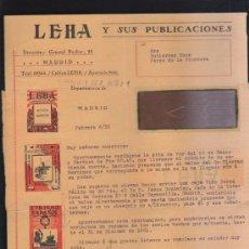 Sellos: CARTA COMERCIAL DE LEHA Y SUS PUBLICACIONES CON SELLO AL DORSO. 1932. VER DORSO . Lote 39321227