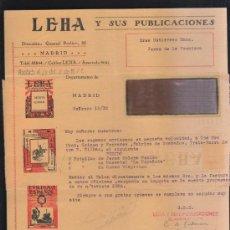 Sellos: CARTA COMERCIAL DE LEHA Y SUS PUBLICACIONES CON SELLO AL DORSO. 1932. VER DORSO . Lote 39321237