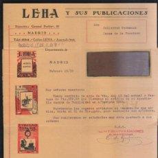 Sellos: CARTA COMERCIAL DE LEHA Y SUS PUBLICACIONES CON SELLO AL DORSO. 1932. VER DORSO . Lote 39321244