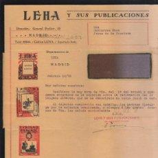 Sellos: CARTA COMERCIAL DE LEHA Y SUS PUBLICACIONES CON SELLO AL DORSO. 1932. VER DORSO . Lote 39321252