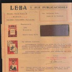 Sellos: CARTA COMERCIAL DE LEHA Y SUS PUBLICACIONES CON SELLO AL DORSO. 1932. VER DORSO . Lote 39321273