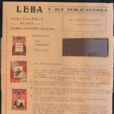 Sellos: CARTA COMERCIAL DE LEHA Y SUS PUBLICACIONES CON SELLO AL DORSO. 1932. VER DORSO . Lote 39321279