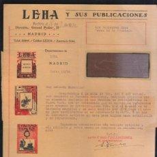 Sellos: CARTA COMERCIAL DE LEHA Y SUS PUBLICACIONES CON SELLO AL DORSO. 1932. VER DORSO . Lote 39321287