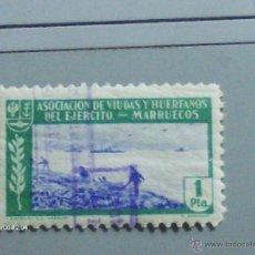 Sellos: ASOCIACION DE VIUDAS Y HUERFANOS DEL EJERCITO MARRUECOS 1 PTS MUY BUENO PERFECTO. Lote 39854727