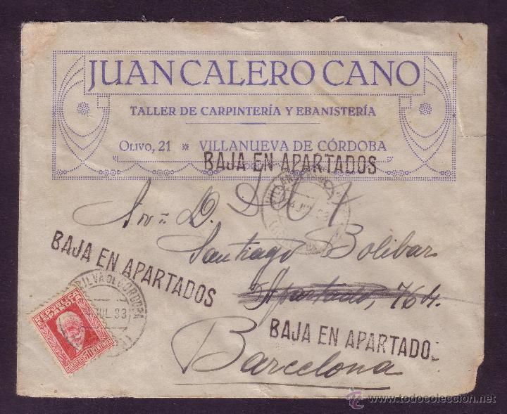 ESPAÑA.(CAT.669).1933.SOBRE PUBLICIDAD DE VILLANUEVA DE CÓRDOBA (CÓRDOBA).TRES MARCAS DE APARTADOS. (Sellos - España - II República de 1.931 a 1.939 - Cartas)