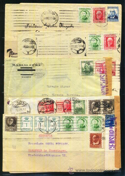 LOTE DE HISTORIA POSTAL PERIODO II REPUBLICA (Sellos - España - II República de 1.931 a 1.939 - Cartas)