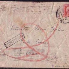 Sellos: ESPAÑA. 1933. SOBRE DE ZARAGOZA A BILBAO. 30 CTS. AL LADO MARCA *ESTUVO EN LISTA*. RARA.. Lote 27465649