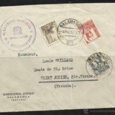Sellos: 1937 - CARTA DEL CUARTEL GENERAL GENERALISIMO SALAMANCA A FRANCIA. Lote 40666562