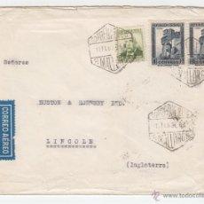 Sellos: 1936 CORREO AÉREO PALMA DE MALLORCA A INGLATERRA, ANVERSO SELLO HOGAR ESCUELA DE HUERFANOS. Lote 40688099