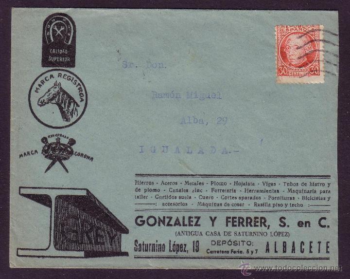 ESPAÑA. (CAT. 687).1935.SOBRE DE PUBLICIDAD DE ALBACETE. 30 CTS. JOVELLANOS. MAT. RODILLO.MAGNÍFICA. (Sellos - España - II República de 1.931 a 1.939 - Cartas)
