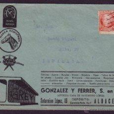 Sellos: ESPAÑA. (CAT. 687).1935.SOBRE DE PUBLICIDAD DE ALBACETE. 30 CTS. JOVELLANOS. MAT. RODILLO.MAGNÍFICA.. Lote 23796293