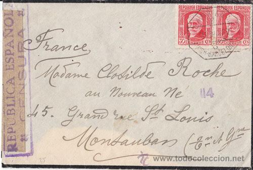 SOBRE CIRCULADO A FRANCIA AMBULANTE VICH - BARCELONA. CENSURA MILITAR REPUBLICA ESPAÑOLA 1937 (Sellos - España - II República de 1.931 a 1.939 - Cartas)