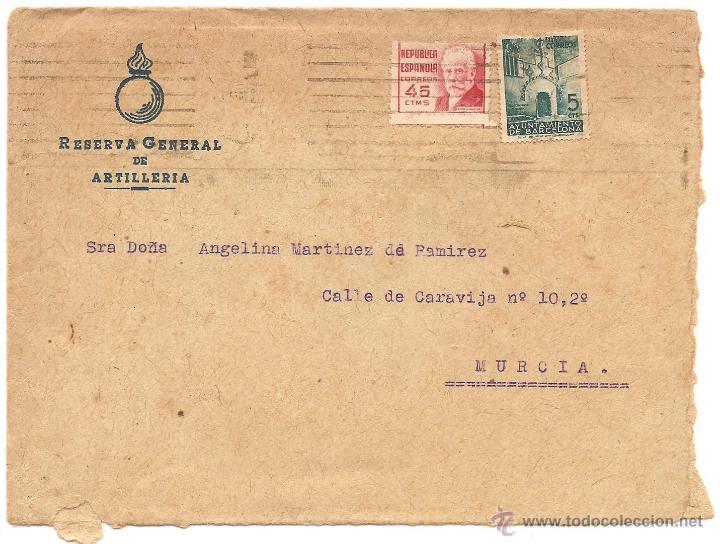 CARTA CIRCULADA CON MEMBRETE DE LA RESERVA GENERAL DE ARTILLERÍA (Sellos - España - II República de 1.931 a 1.939 - Cartas)