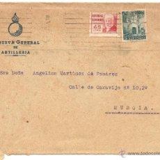 Sellos: CARTA CIRCULADA CON MEMBRETE DE LA RESERVA GENERAL DE ARTILLERÍA. Lote 40779780