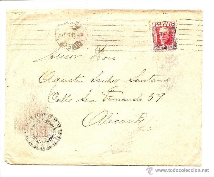 CARTA CIRCULADA DE MADRID A ALICANTE AÑO 1931 - POMPAS FÚNEBRES ARENAL 4 MADRID (Sellos - España - II República de 1.931 a 1.939 - Cartas)