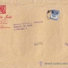 Sellos: SOBRE CERTIFICADO DE BARCELONA A CANGAS DE ONÍS (ASTURIAS) 1935. 40 CTS. EMILIO CASTELAR.. Lote 41005647