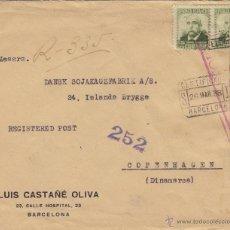 Sellos: CARTA - MEMB. LUIS CATAÑE OLIVA - CENSURA REPUBLICA ESPAÑOLA MAT CERTIFICADO BARCELONA MARCA 252. Lote 41231400