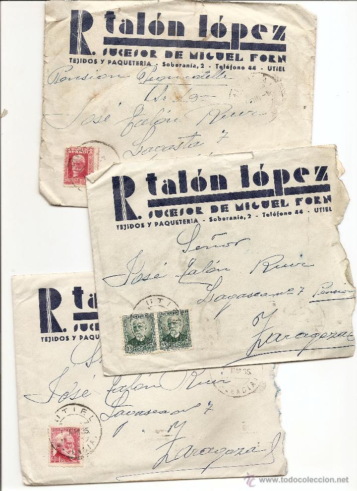 UTIEL (VALENCIA) - LOTE 3 CARTAS CIRCULADAS R. TALÓN LÓPEZ TEJIDOS Y PAQUETERÍA AÑOS 1934-35 (Sellos - España - II República de 1.931 a 1.939 - Cartas)