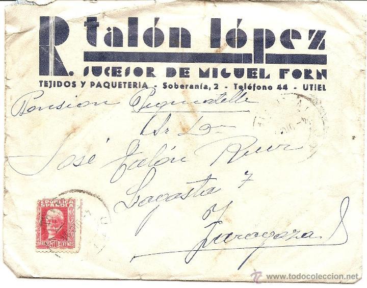 Sellos: UTIEL (VALENCIA) - LOTE 3 CARTAS CIRCULADAS R. TALÓN LÓPEZ TEJIDOS Y PAQUETERÍA AÑOS 1934-35 - Foto 2 - 42375957