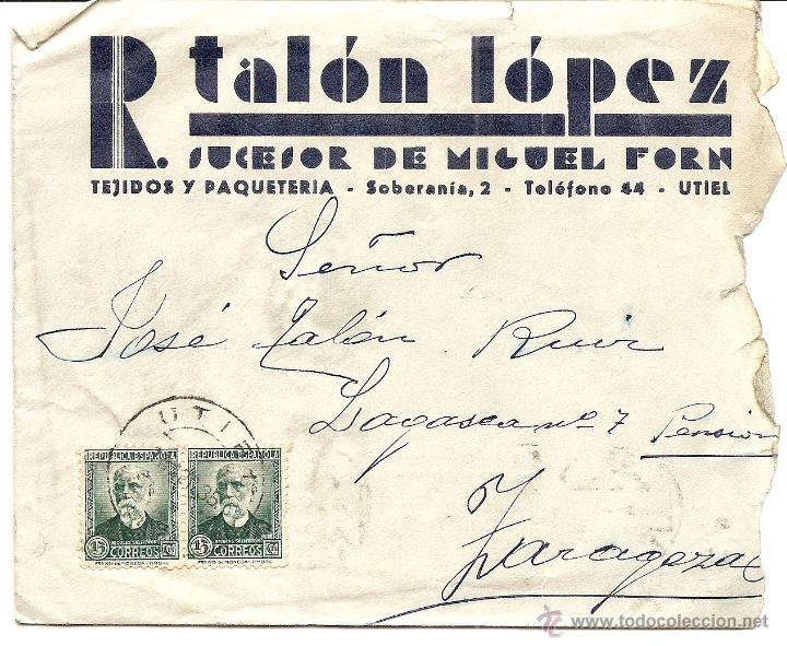 Sellos: UTIEL (VALENCIA) - LOTE 3 CARTAS CIRCULADAS R. TALÓN LÓPEZ TEJIDOS Y PAQUETERÍA AÑOS 1934-35 - Foto 4 - 42375957