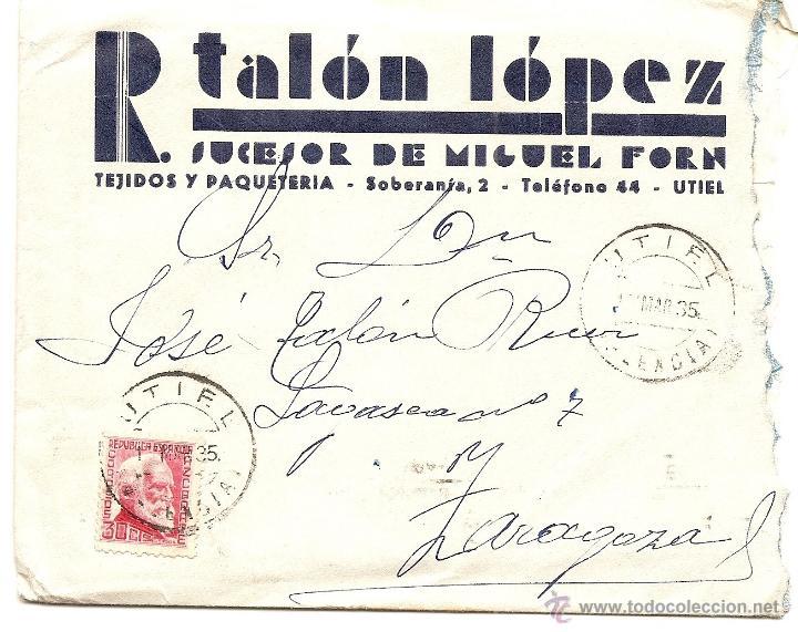 Sellos: UTIEL (VALENCIA) - LOTE 3 CARTAS CIRCULADAS R. TALÓN LÓPEZ TEJIDOS Y PAQUETERÍA AÑOS 1934-35 - Foto 6 - 42375957