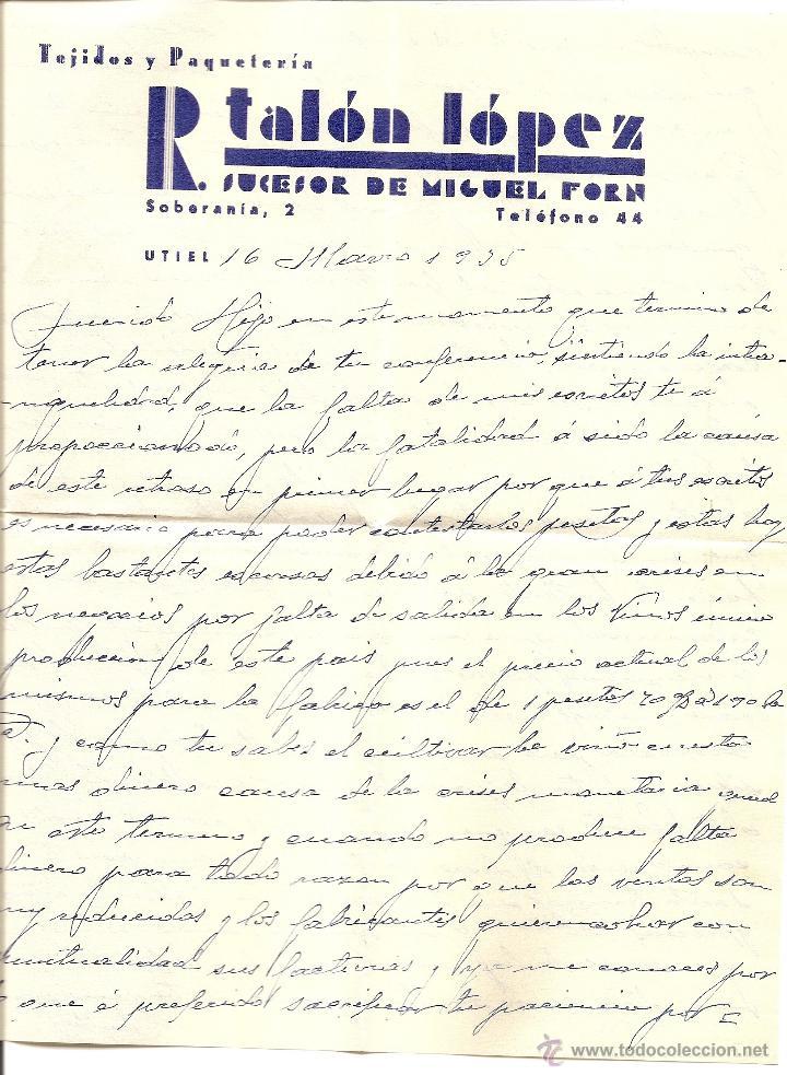 Sellos: UTIEL (VALENCIA) - LOTE 3 CARTAS CIRCULADAS R. TALÓN LÓPEZ TEJIDOS Y PAQUETERÍA AÑOS 1934-35 - Foto 8 - 42375957