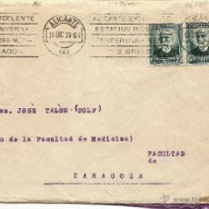 Sellos: ALICANTE - CARTA CIRCULADA AÑO 1934 DE ALICANTE A ZARAGOZA. Lote 42376123