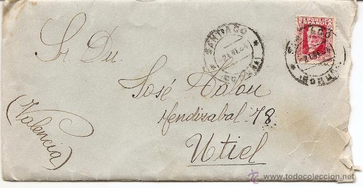 SANTIAGO (CORUÑA) - CARTA CIRCULADA AÑO 1934 DE SANTIAGO A UTIEL (VALENCIA) (Sellos - España - II República de 1.931 a 1.939 - Cartas)