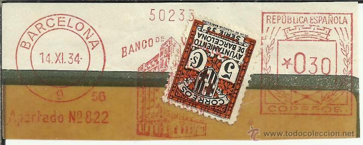 BARCELONA FRANQUEO MECANICO RECORTADO BANCO DE VIZCAYA 1934 SELLO RECARGO AYUNTAMIENTO DE BARCELONA (Sellos - España - II República de 1.931 a 1.939 - Cartas)