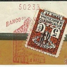 Sellos: BARCELONA FRANQUEO MECANICO RECORTADO BANCO DE VIZCAYA 1934 SELLO RECARGO AYUNTAMIENTO DE BARCELONA. Lote 42969313