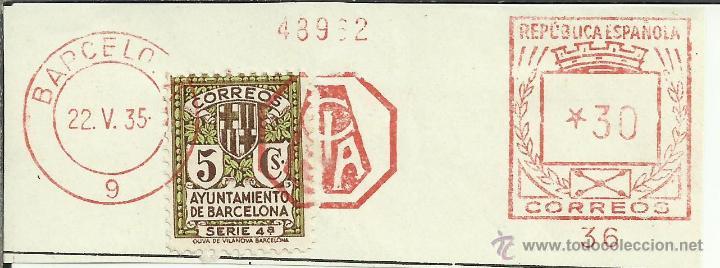 BARCELONA FRANQUEO MECANICO RECORTADO CIBA 1935 SELLO RECARGO AYUNTAMIENTO DE BARCELONA (Sellos - España - II República de 1.931 a 1.939 - Cartas)