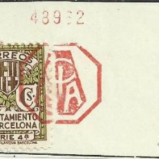 Sellos: BARCELONA FRANQUEO MECANICO RECORTADO CIBA 1935 SELLO RECARGO AYUNTAMIENTO DE BARCELONA. Lote 42969343