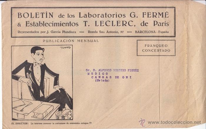 SOBRE FRANQUEO CONCERTADO. BOLETÍN LABORATORIOS FERMÉ. ÉPOCA REPÚBLICA. (Sellos - España - II República de 1.931 a 1.939 - Cartas)