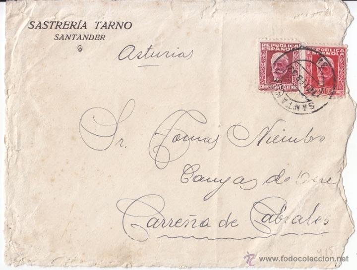 SOBRE. 1933. PABLO IGLESIAS 25 Y 30 CTS. SANTANDER. A ASTURIAS (Sellos - España - II República de 1.931 a 1.939 - Cartas)