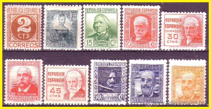 1936 CIFRA Y PERSONAJES, EDIFIL Nº 731 A 740 * (Sellos - España - II República de 1.931 a 1.939 - Nuevos)